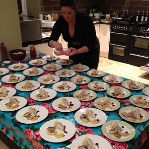 Plating dinner up for guests